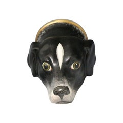 Staffordshire Pottery Stirrup Cup in the Form of a Hounds Head, 19th Century
