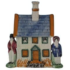 Staffordshire Prattware Pottery House Moneybox