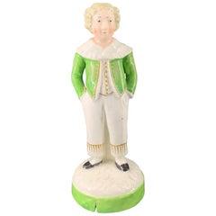 Staffordshire 'Schoolboy' Figure, Green Jacket, circa 1830