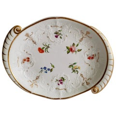Staffordshire Serving Dish White Floral with Fine Union Moulding circa 1801-1820
