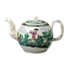 Staffordshire Stoneware Salt Glazed Teapot Color Decorated with Figures