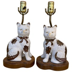 Staffordshire Style Porcelain Cats Mounted as Lamps