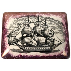 Staffordshire Sunderland Lustreware Porcelain Box with Sailor and Ship Theme