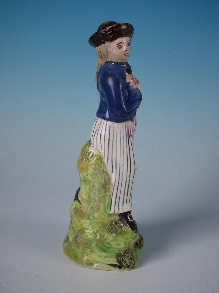 Glazed Stafforshire Pearlware Sailor Figure For Sale