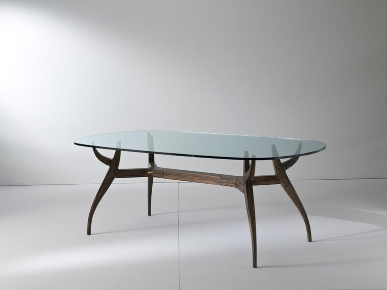 Italian STAG Dining Table in Solid Walnut and Glass Top For Sale