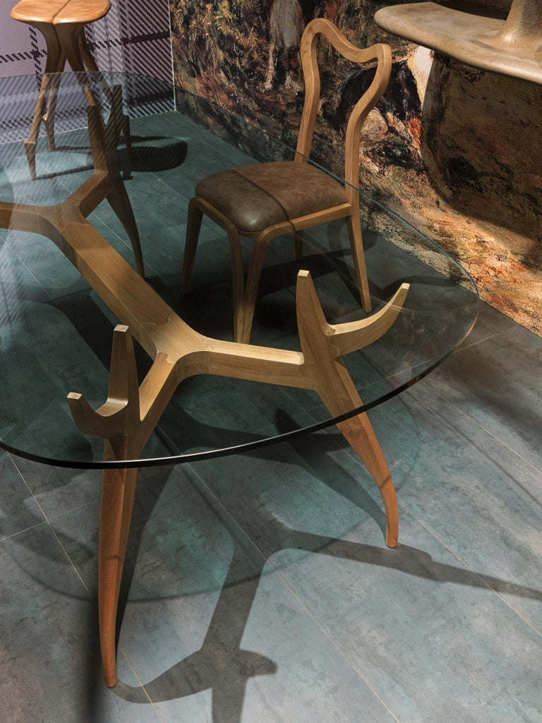 STAG Dining Table in Solid Walnut and Glass Top In New Condition For Sale In Lentate sul Seveso, Monza e Brianza