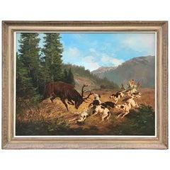 Stag Hunt Scene Oil Painting