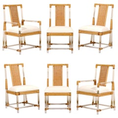 Staggering Restored Set of 12 Iconic Lucite and Rattan Dining Chairs, circa 1975