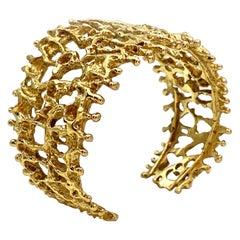 """""""Staghorn Coral"""" Handmade Openwork Cuff Bracelet in 18 Karat Yellow Gold"""