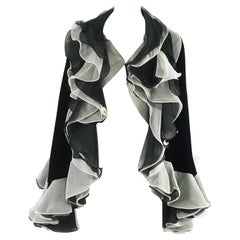 STAIN Armani Black Velvet Cape with White Silk Pleated Trim - OS