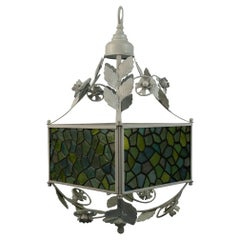 Stain Glass Leaves and Flower Pendant Light