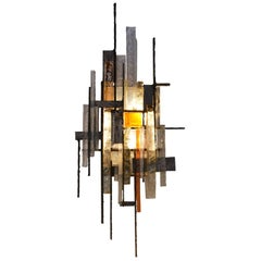 Stained Glass and Iron Wall Light by Poliarte, Italy, 1970s