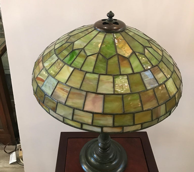 20th Century Stained Glass Lamp by Duffner and Kimberly For Sale