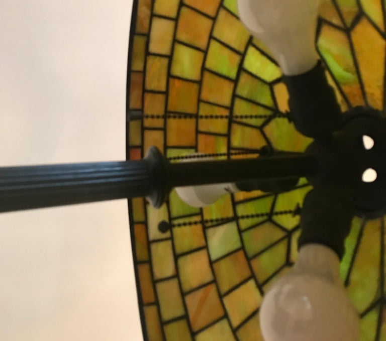 Bronze Stained Glass Lamp by Duffner and Kimberly For Sale