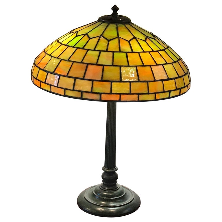 Stained Glass Lamp by Duffner and Kimberly For Sale