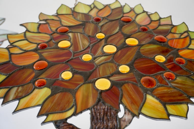 20th Century Stained Glass Panel For Sale