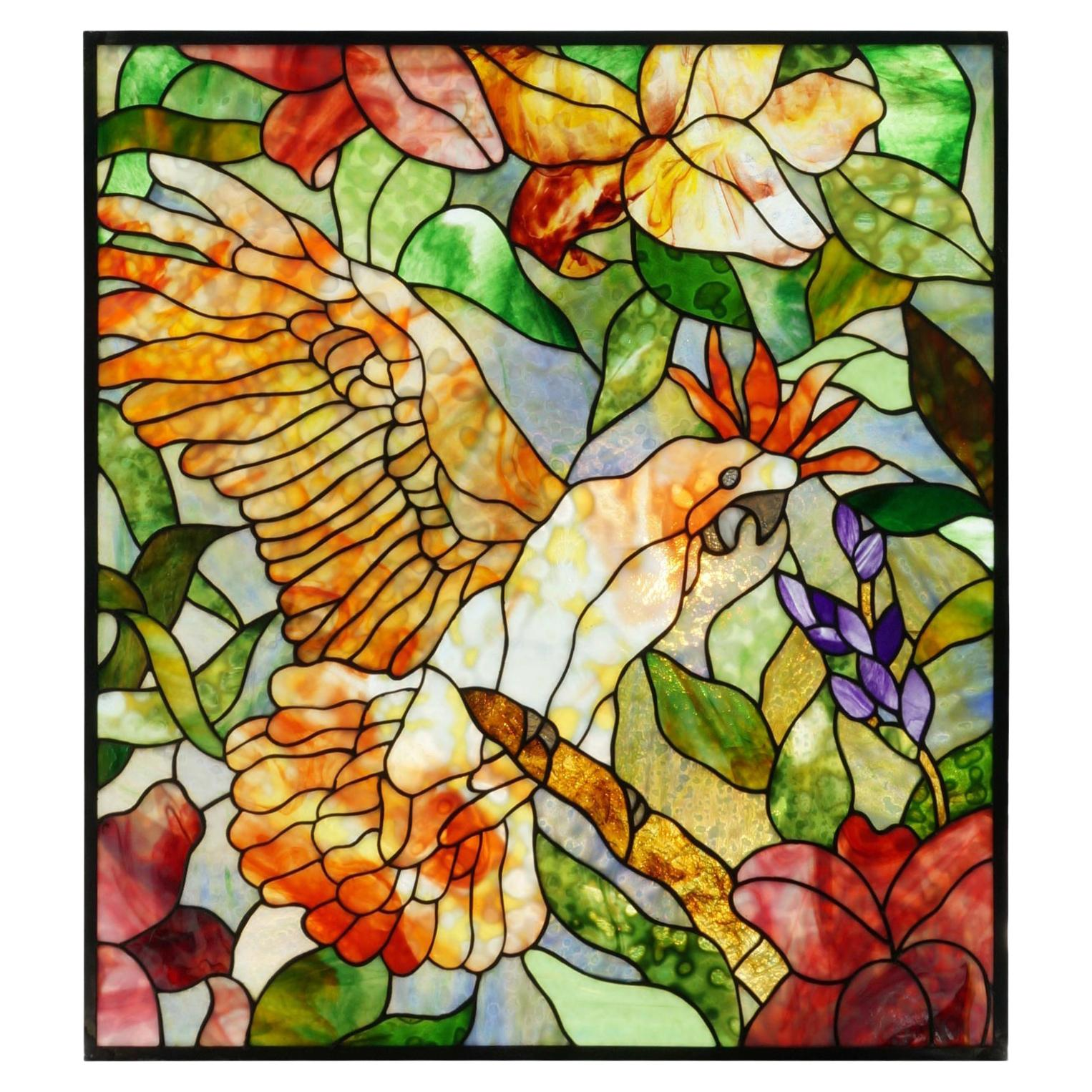 Stained Glass Panel with a Cockatoo