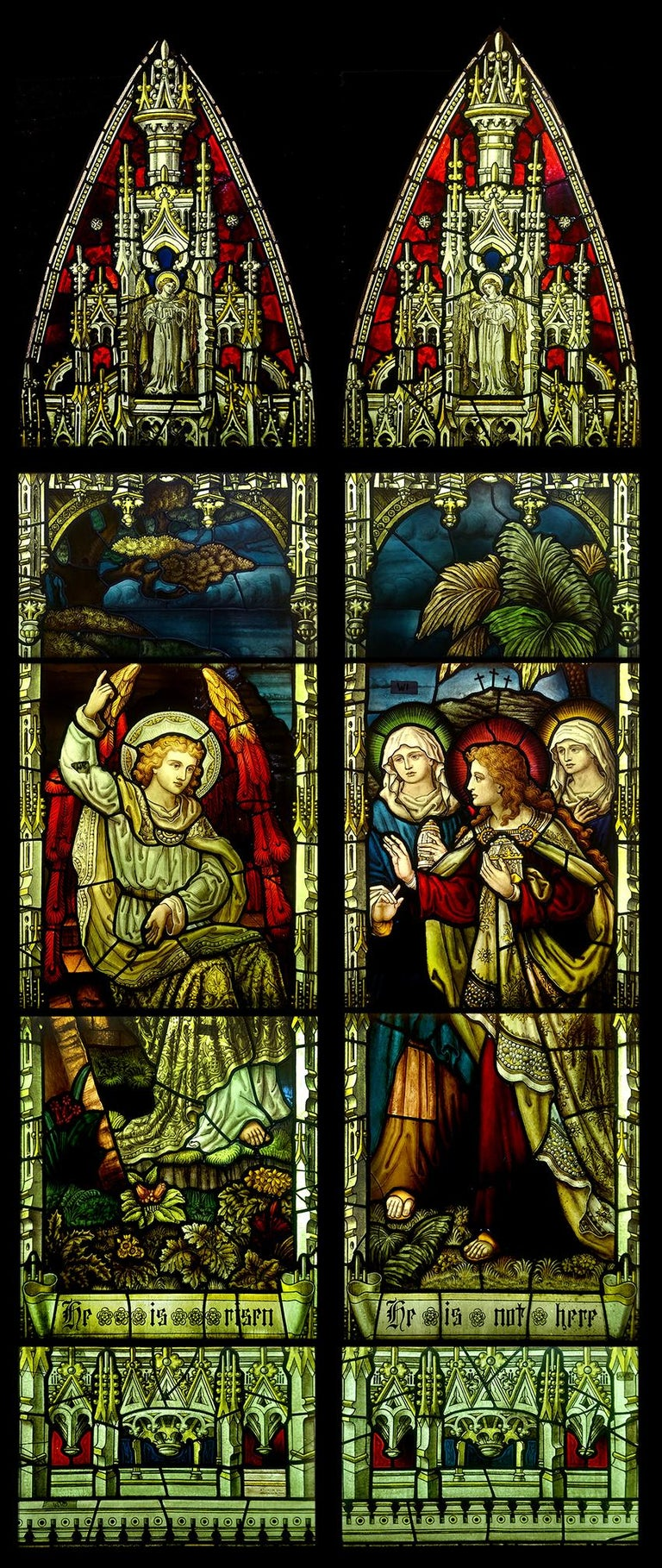English stained glass panels depicting christ has risen for sale