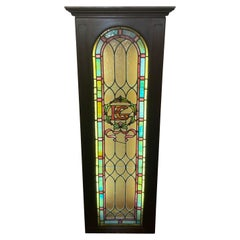 Stained Glass Rectangular Wood Framed Window