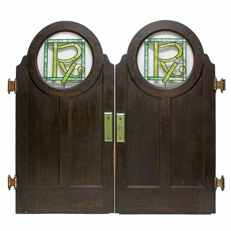 Stained Glass Saloon Doors, Set of 2 For Sale