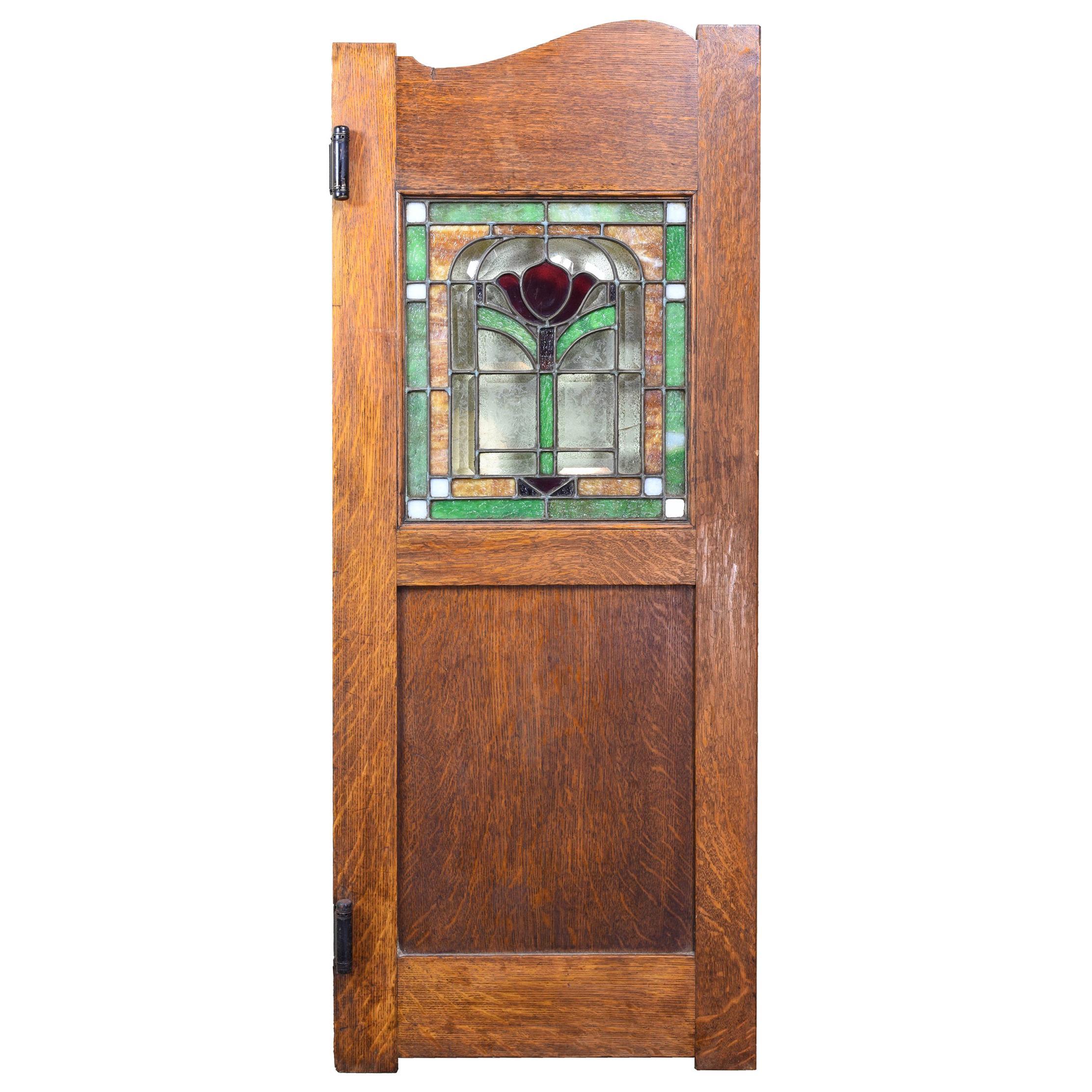 Stained Glass Swinging Tiger Oak Pub Door