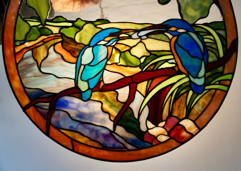 Hollywood Regency Stained Glass Wall Panel with Two Birds For Sale