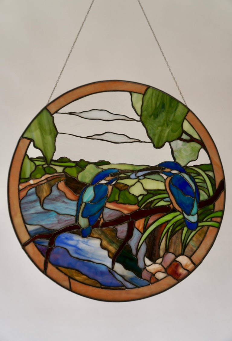 Italian Stained Glass Wall Panel with Two Birds For Sale
