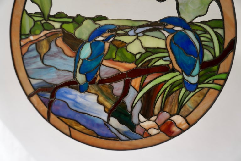 Stained Glass Wall Panel with Two Birds In Good Condition For Sale In Antwerp, BE