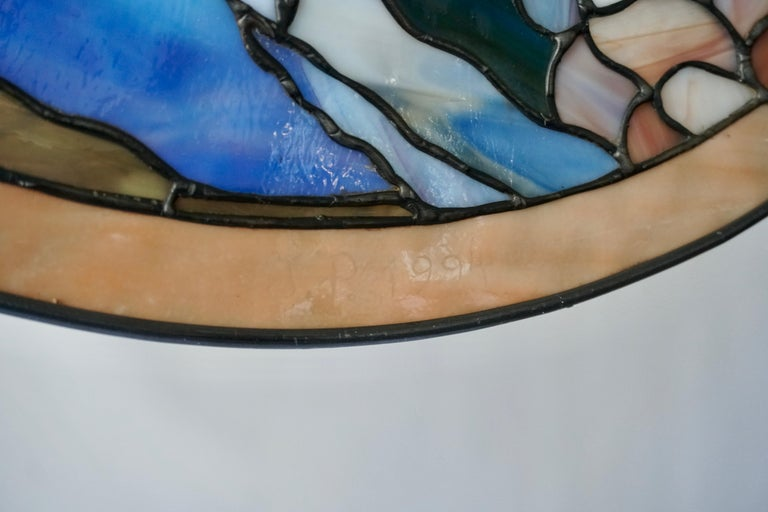 20th Century Stained Glass Wall Panel with Two Birds For Sale