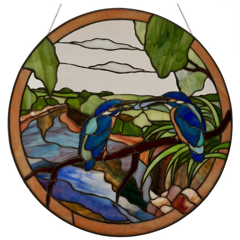 Stained Glass Wall Panel with Two Birds For Sale