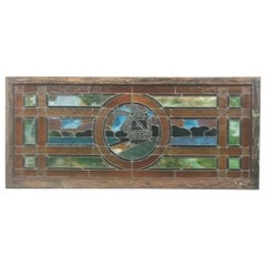 Vintage Windmill Motif Stained Glass Window Pastoral Sea & Sky Stain Glass Panel