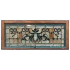 Stained Glass Window  with  rare red jewels  19th c