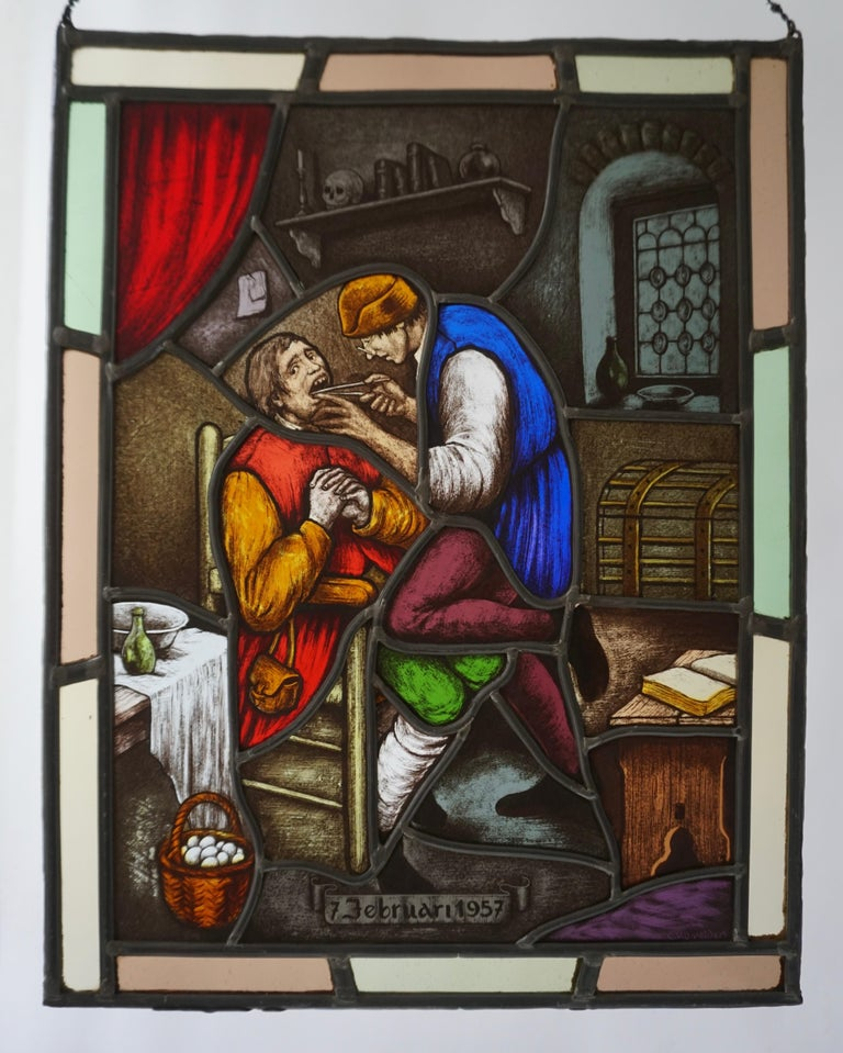 Hand-Painted Stained Glass Window Panel with Dentist Treatment For Sale