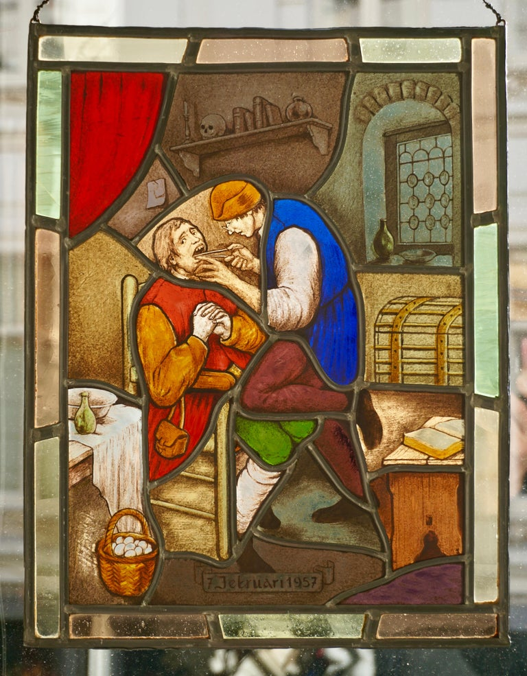Stained Glass Window Panel with Dentist Treatment In Good Condition For Sale In Antwerp, BE