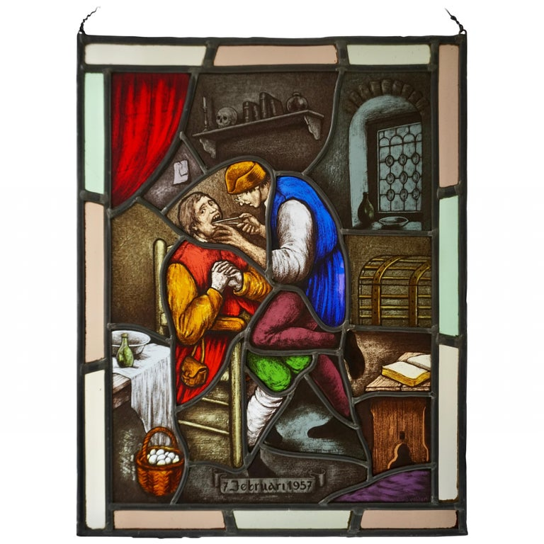 Stained Glass Window Panel with Dentist Treatment For Sale