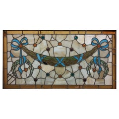 19th c antique Stained Glass Window with Eighteen Jewels