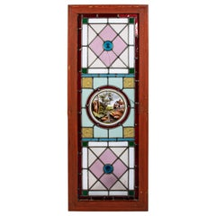 Stained Glass with Farm House Scene