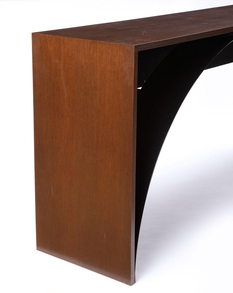 Stained Oak and Metal Console and Side Table, Modern For Sale 4
