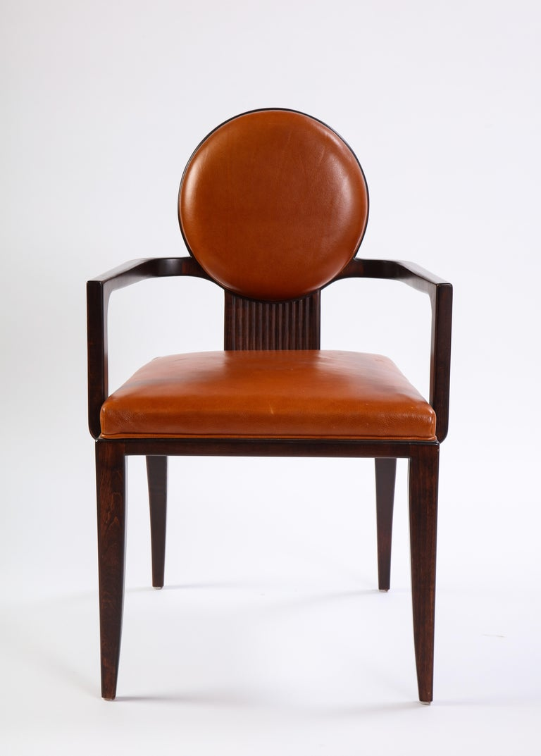 Stained Wooden Armchair with Leather Upholstery by Juan Montoya, Modern In Good Condition For Sale In New York, NY