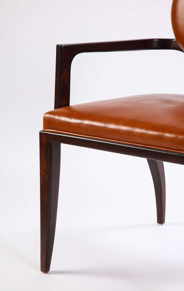Stained Wooden Armchair with Leather Upholstery by Juan Montoya, Modern For Sale 3