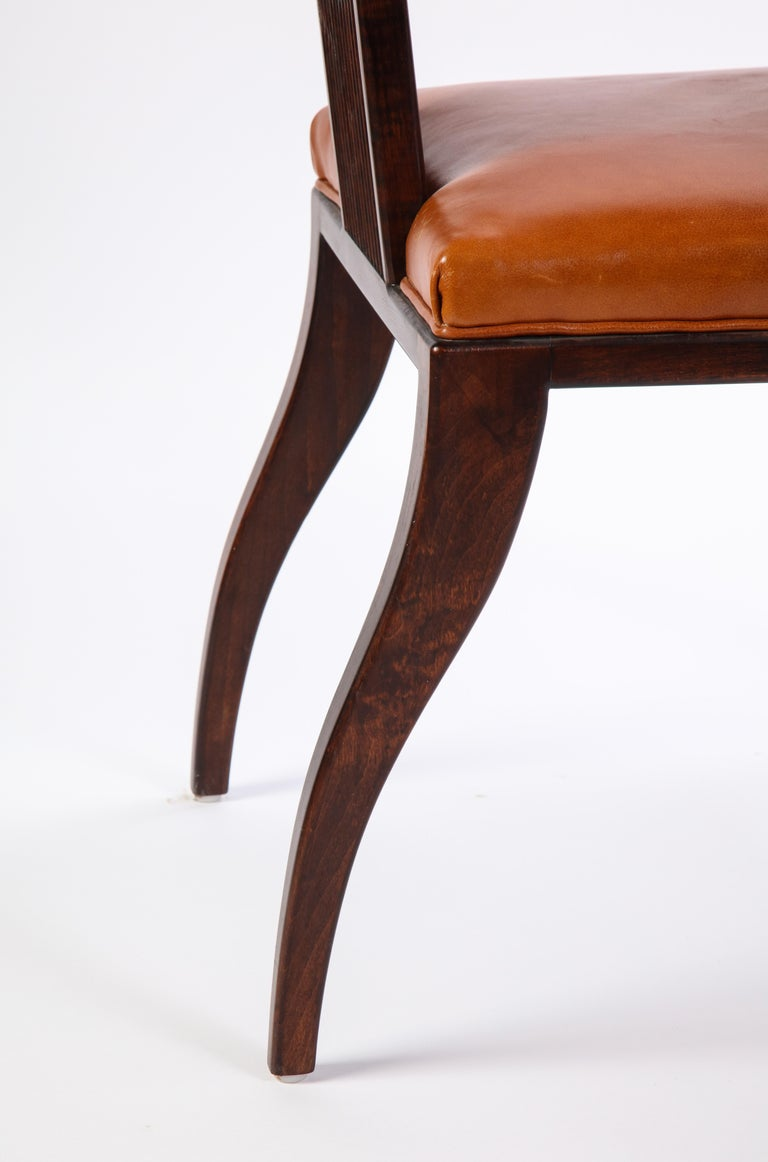 Stained Wooden Armchair with Leather Upholstery by Juan Montoya, Modern For Sale 4