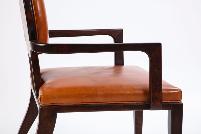 Stained Wooden Armchair with Leather Upholstery by Juan Montoya, Modern For Sale 5