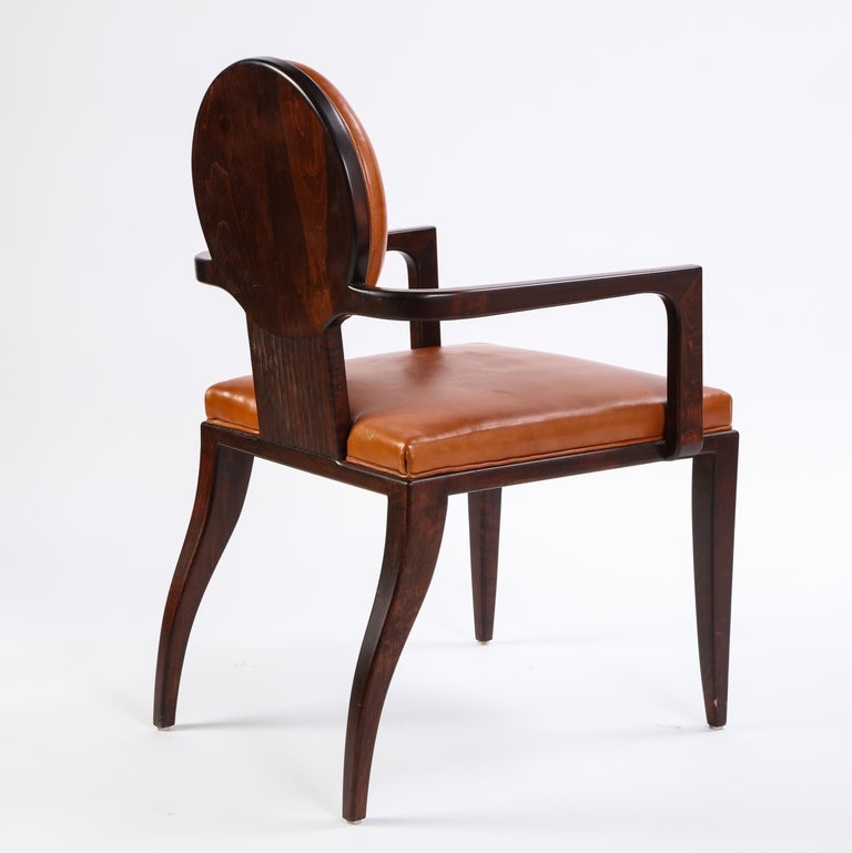20th Century Stained Wooden Armchair with Leather Upholstery by Juan Montoya, Modern For Sale