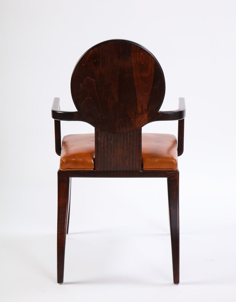 Stained Wooden Armchair with Leather Upholstery by Juan Montoya, Modern For Sale 6