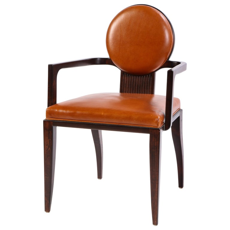 Stained Wooden Armchair with Leather Upholstery by Juan Montoya, Modern For Sale