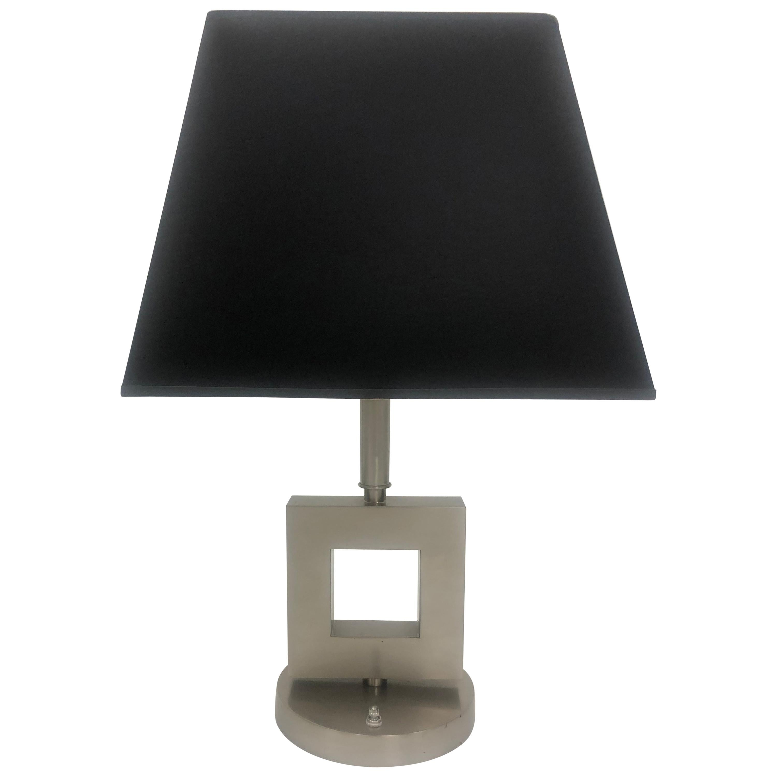 Stainless Brushed Steel Geometric Table Lamp