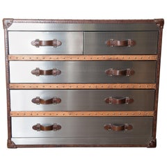 Stainless Leather Trunk style Chest of Drawers