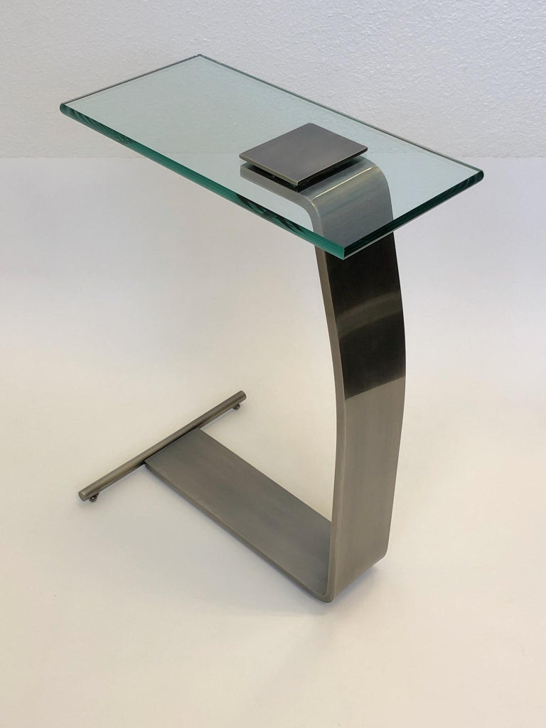 Stainless Steal and Glass Occasional Table by Design Institute of America For Sale 3