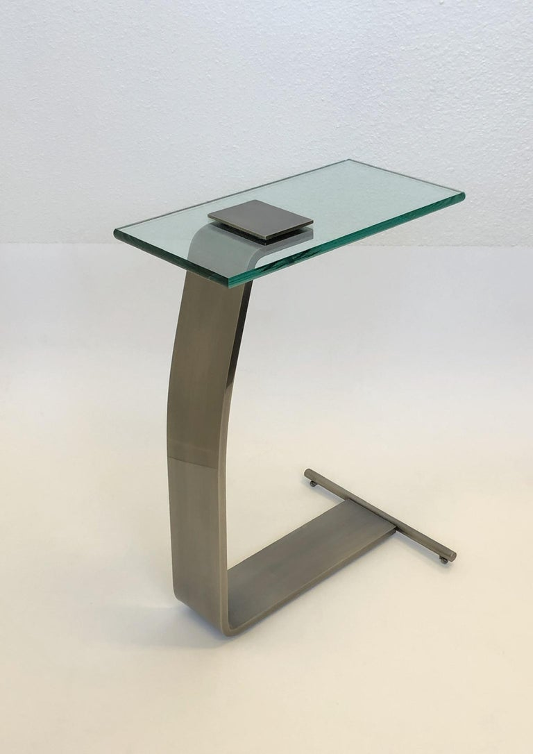 Modern Stainless Steal and Glass Occasional Table by Design Institute of America For Sale