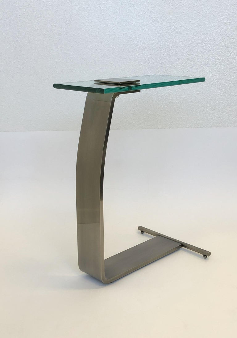 American Stainless Steal and Glass Occasional Table by Design Institute of America For Sale